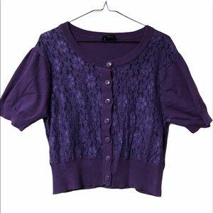 Torrid Purple Short sleeved Cardigan